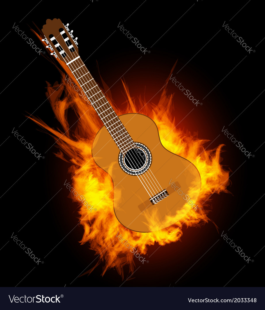 Acoustic guitar in fire flame vector | Price: 1 Credit (USD $1)