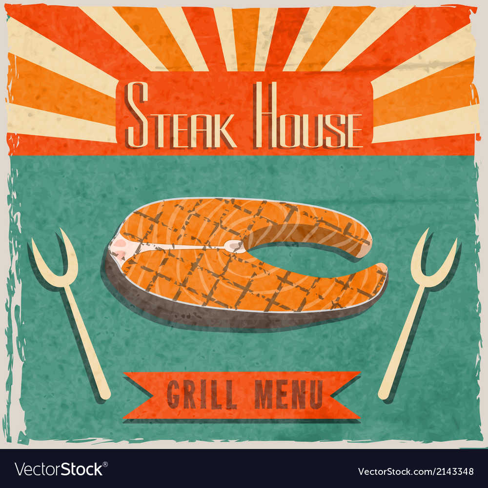 Fish steak retro poster vector | Price: 1 Credit (USD $1)