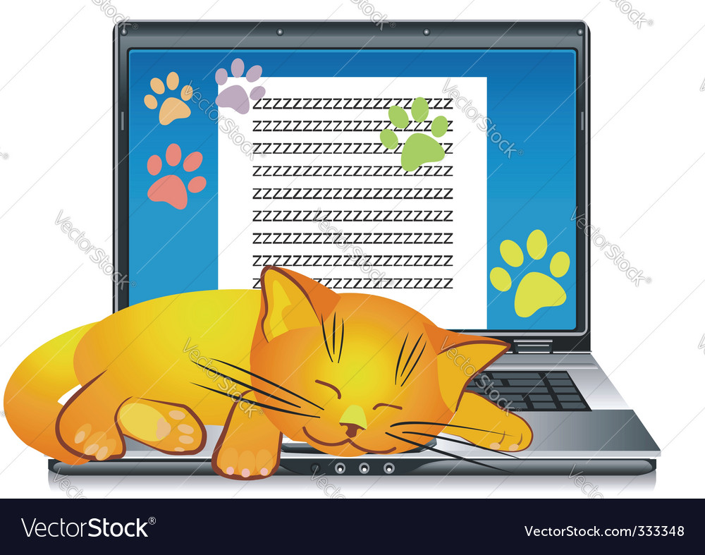 Ginger cat asleep vector | Price: 1 Credit (USD $1)