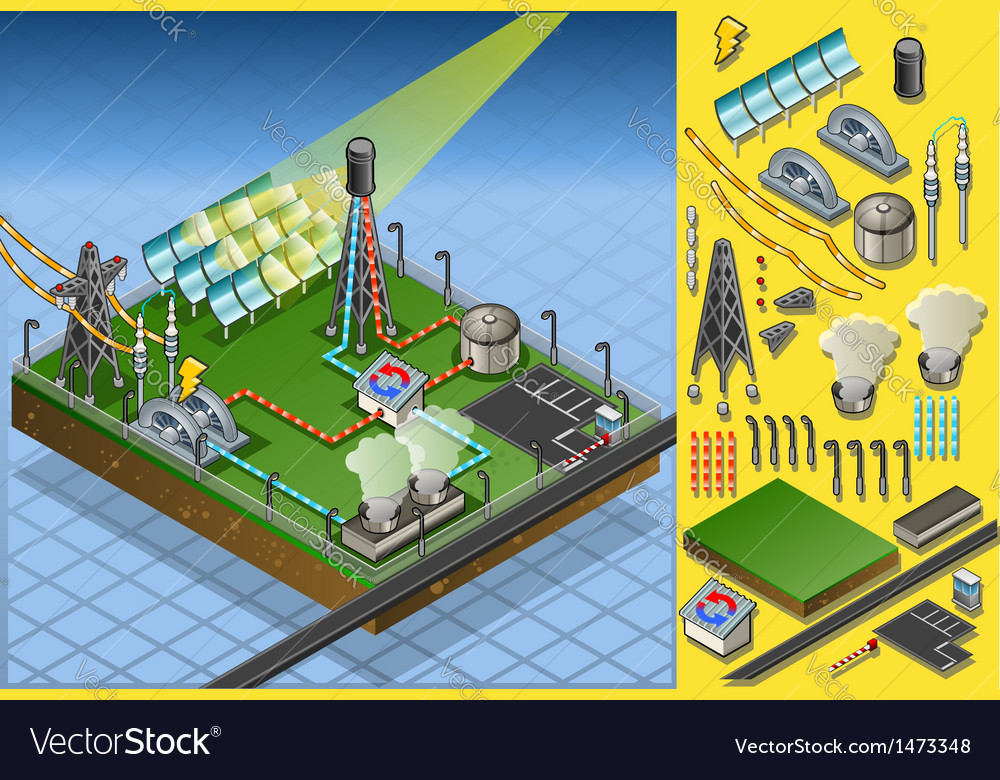 Isometric termo solar plant diagram vector | Price: 1 Credit (USD $1)