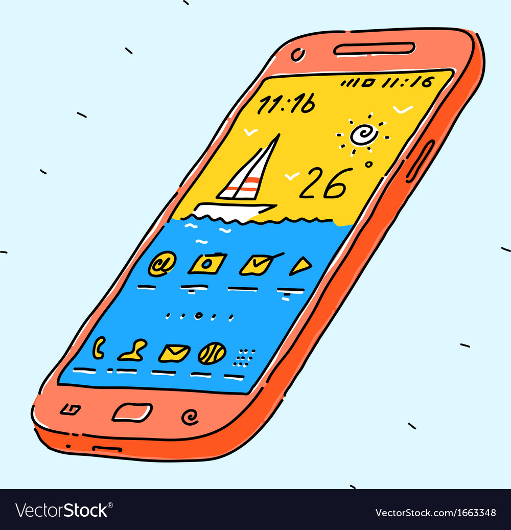 Modern phone vector | Price: 1 Credit (USD $1)