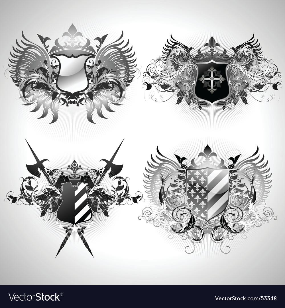 Ornamental shields vector | Price: 3 Credit (USD $3)