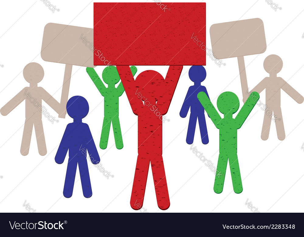 Paper people protest3 vector | Price: 1 Credit (USD $1)