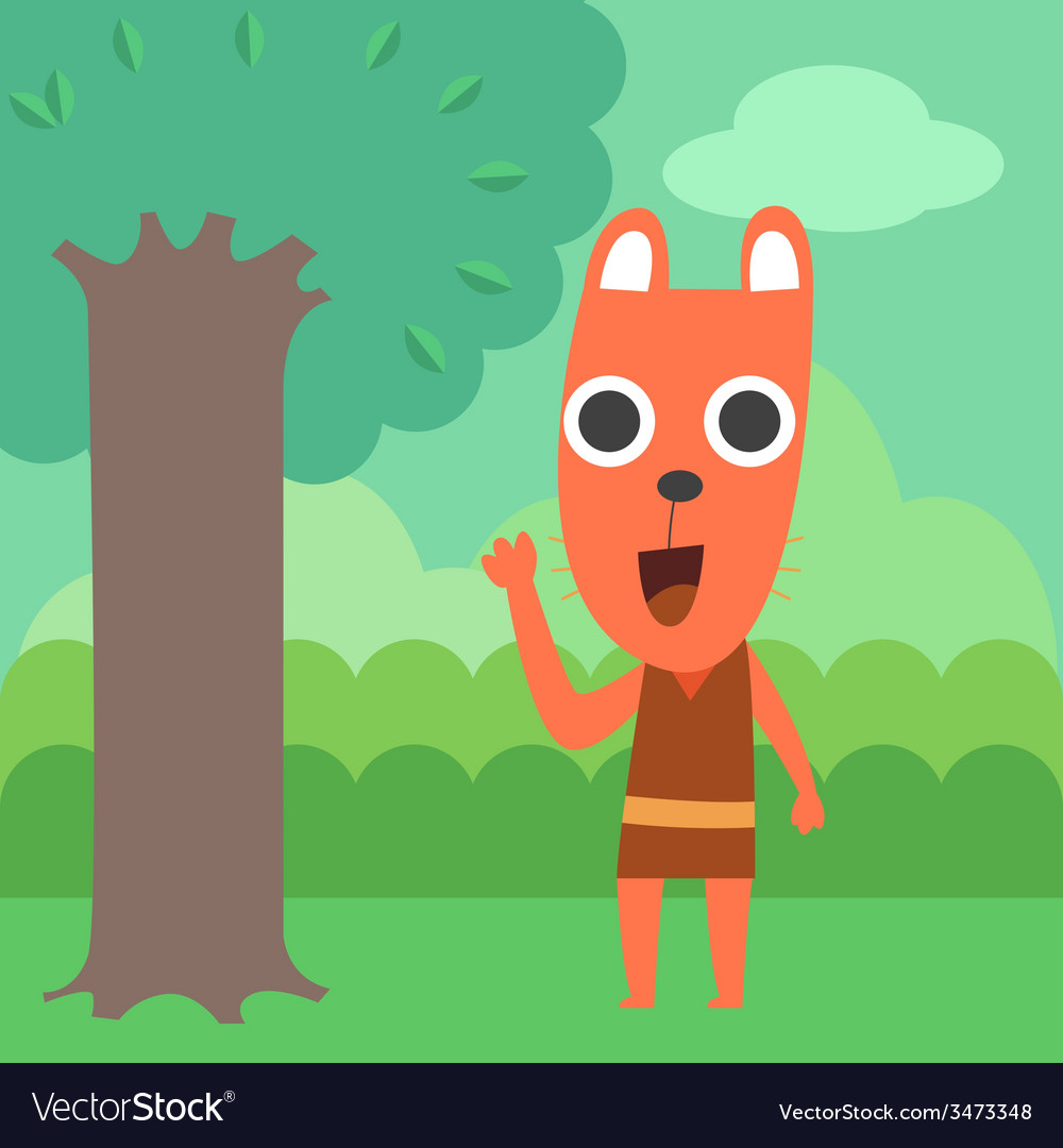 Raccoon in forest vector | Price: 1 Credit (USD $1)