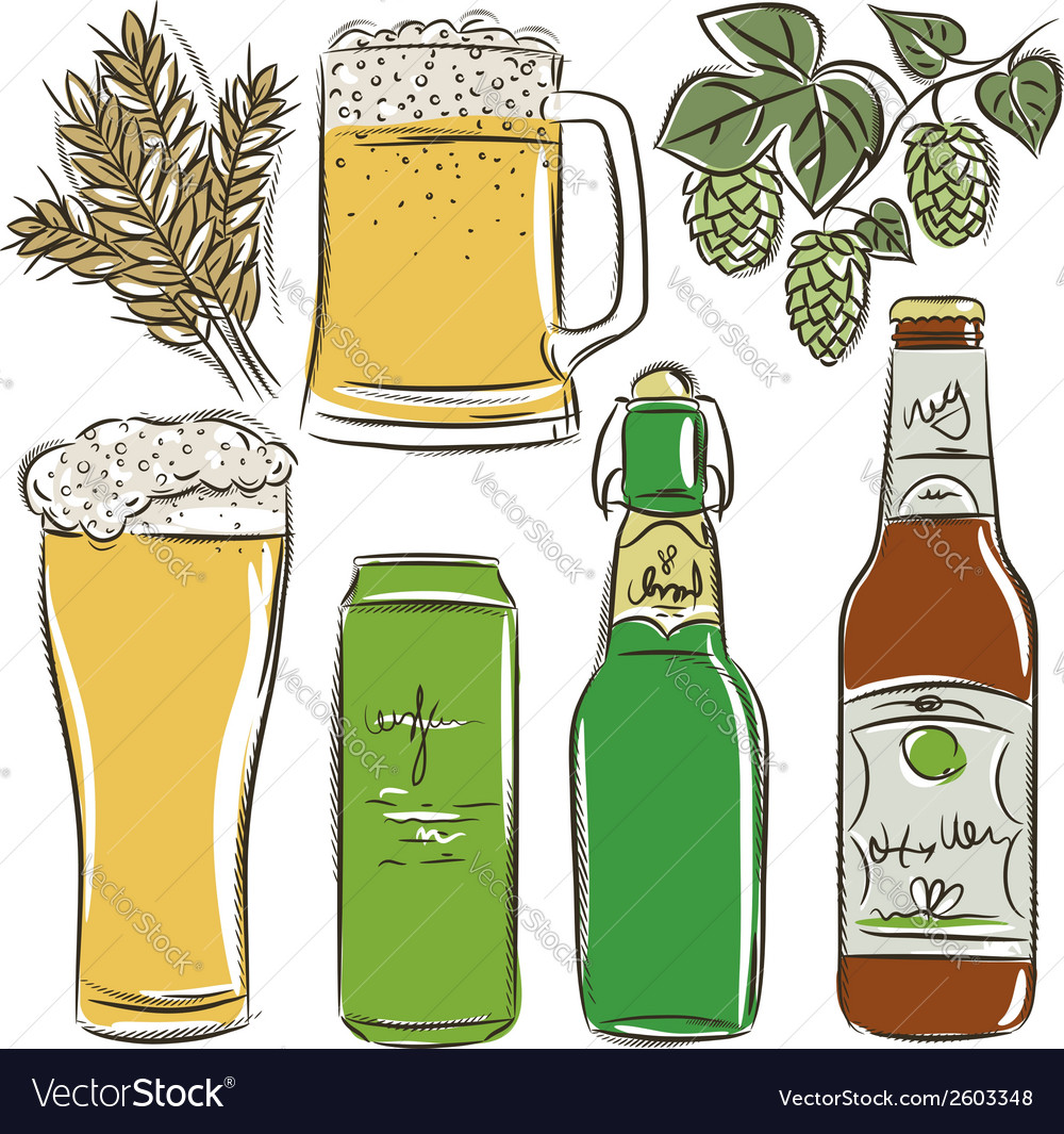 Set of beer bottle vector | Price: 1 Credit (USD $1)