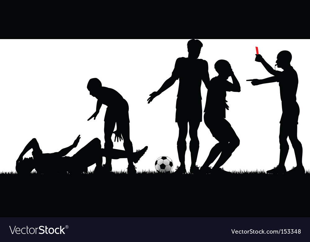 Soccer game silhouette vector | Price: 1 Credit (USD $1)