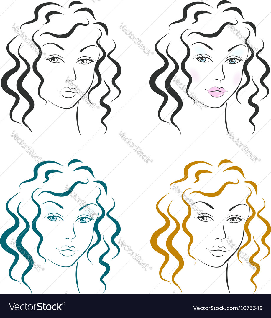 Beautiful woman face design set vector | Price:  Credit (USD $)