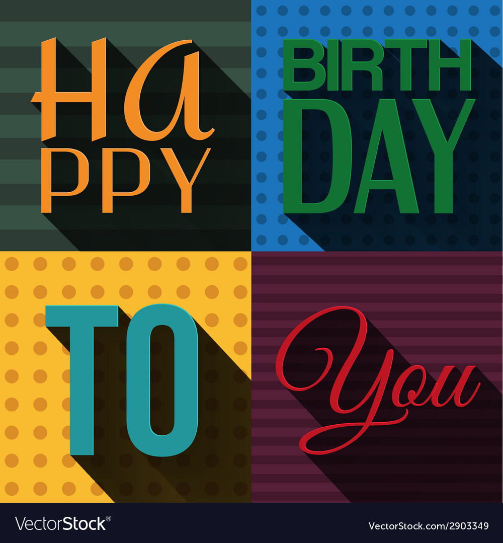 Birthday card with wishes text in retro design vector | Price: 1 Credit (USD $1)