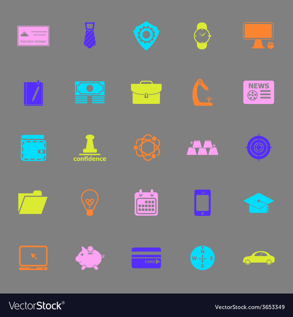 Businessman item color icons on gray background vector | Price: 1 Credit (USD $1)