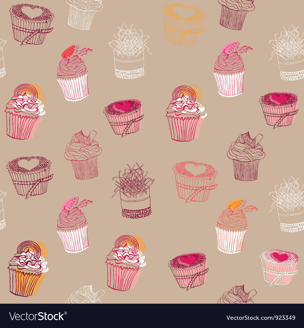 Cupcakes pattern vector | Price: 1 Credit (USD $1)