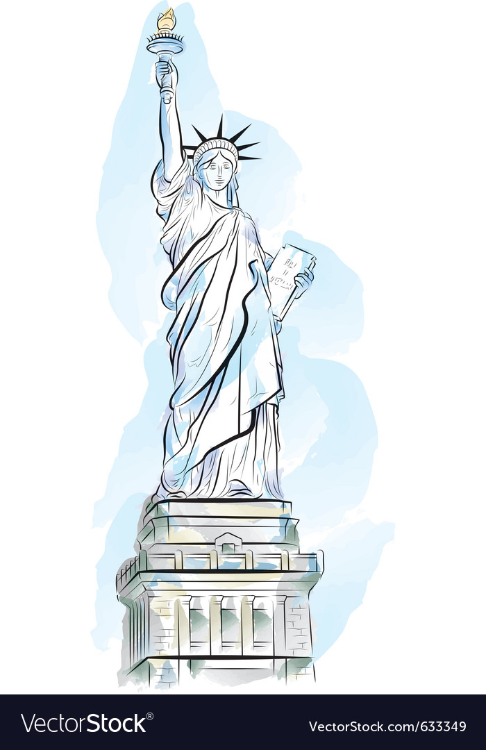Drawing color statue of liberty in new york usa vector | Price: 1 Credit (USD $1)