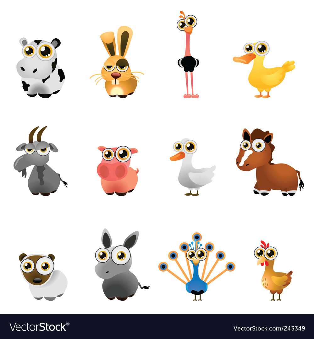 Farm animal set vector | Price: 1 Credit (USD $1)