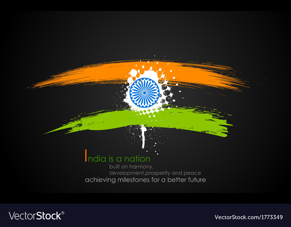 Grungy india background in tricolor vector | Price: 1 Credit (USD $1)