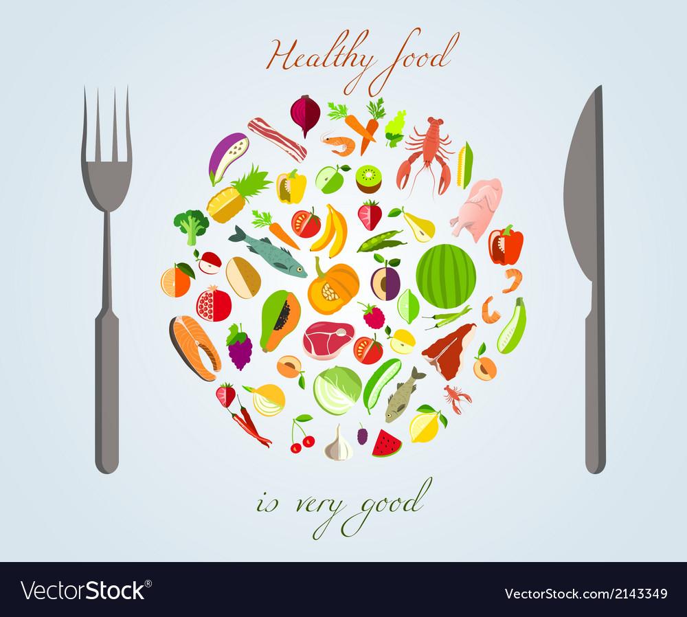 Healthy food concept vector | Price: 1 Credit (USD $1)