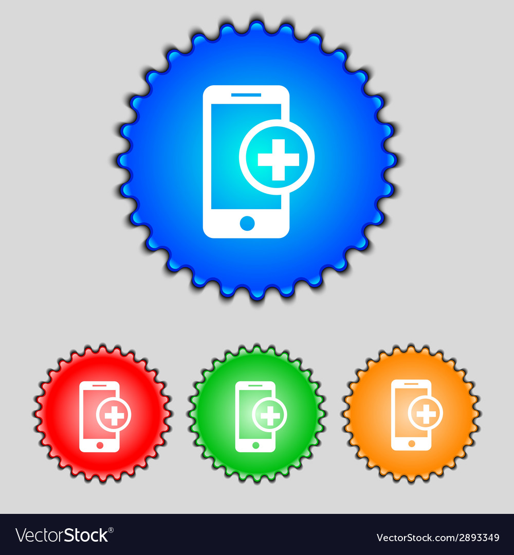 Mobile devices sign icon with symbol plus map vector | Price: 1 Credit (USD $1)