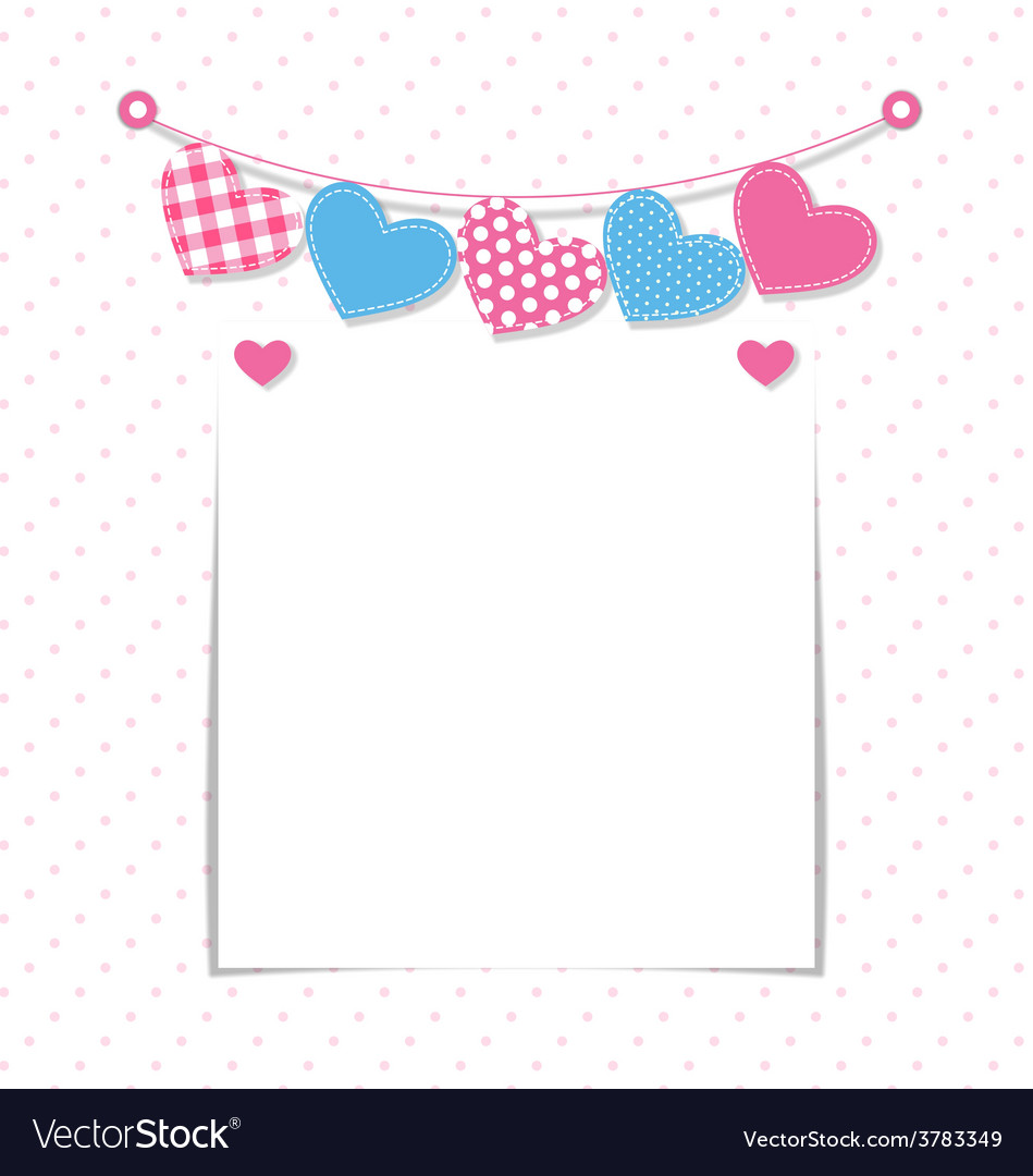 Paper frame with stitched hearts buntings garlands vector | Price: 1 Credit (USD $1)