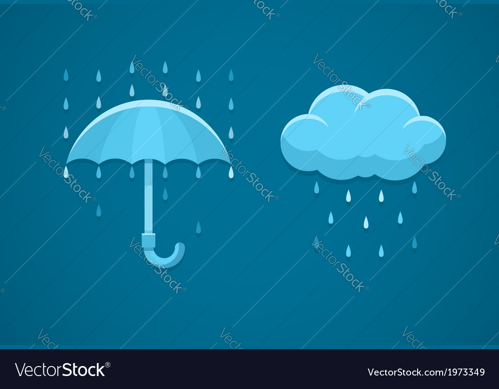 Rainy weather flat icons with vector | Price: 1 Credit (USD $1)