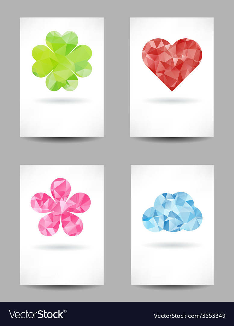 Set of shapes with abstract triangles vector | Price: 1 Credit (USD $1)