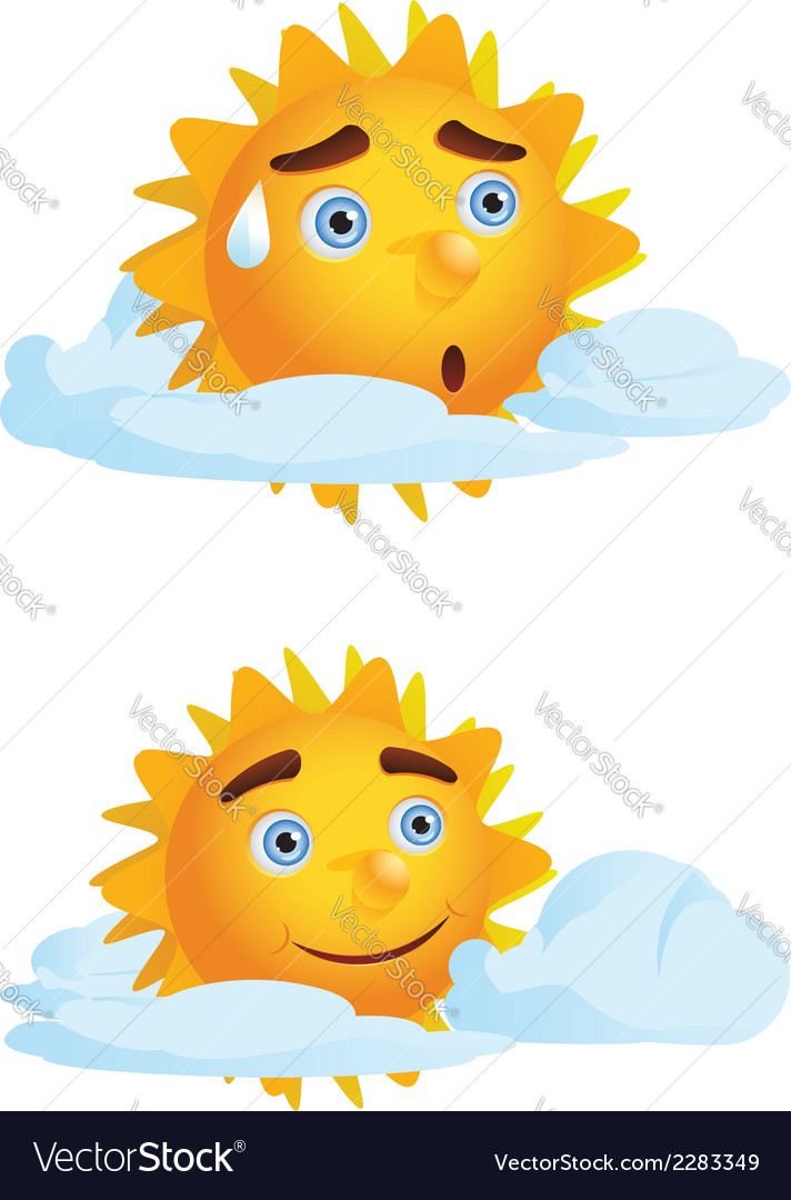 Sun with clouds2 vector | Price: 1 Credit (USD $1)