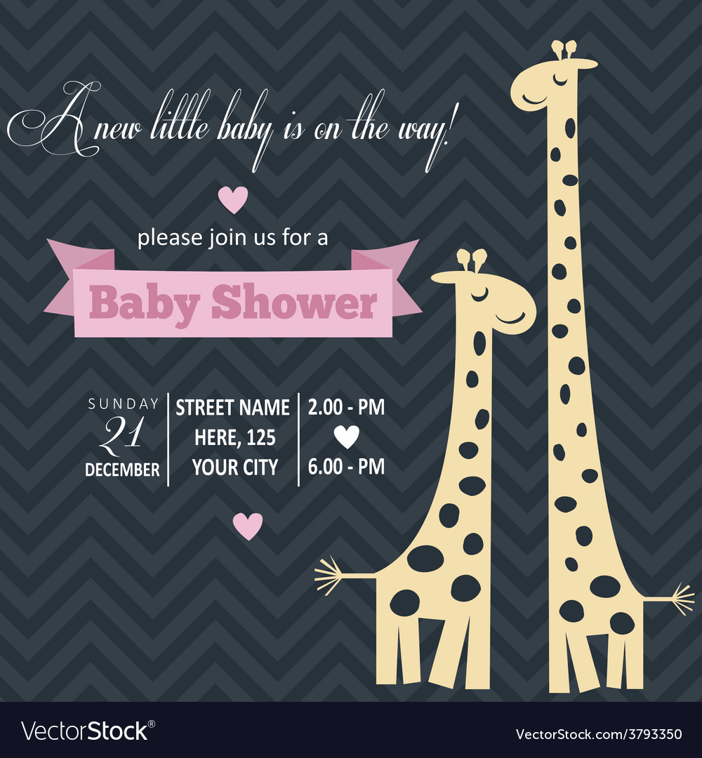 Baby girl invitation for baby shower vector | Price: 1 Credit (USD $1)