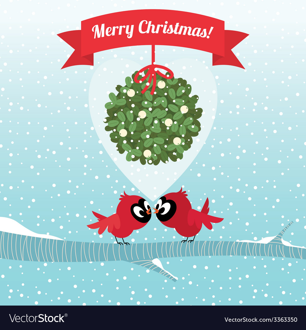 Birds kissing under a branch of mistletoe christma vector | Price: 1 Credit (USD $1)