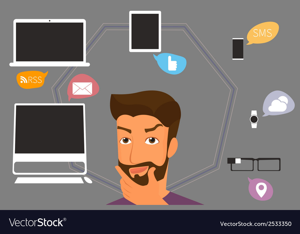 Brunette man thinking about gadgets and vector | Price: 1 Credit (USD $1)