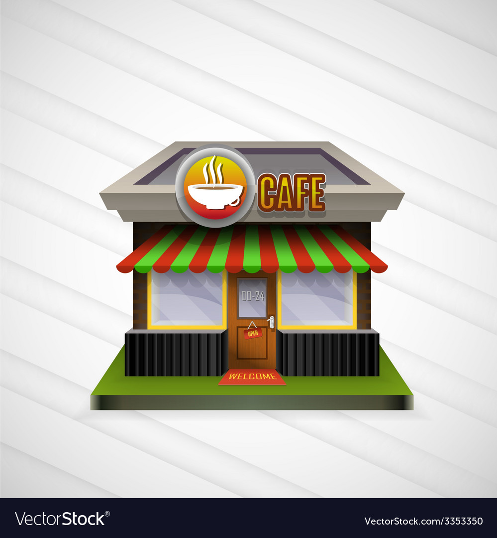 Building cafe open storefronts and bright awning vector | Price: 1 Credit (USD $1)