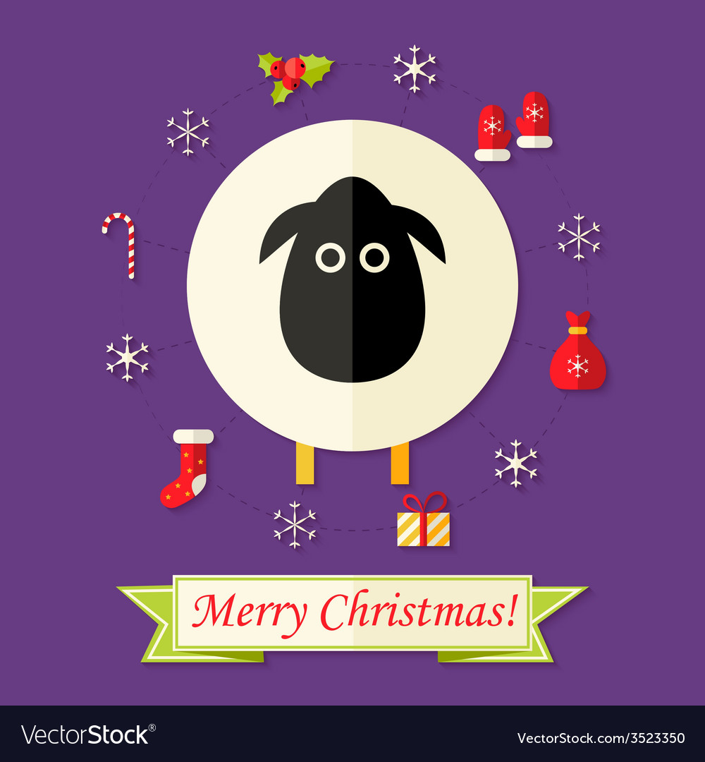 Christmas card with sheep over purple vector | Price: 1 Credit (USD $1)