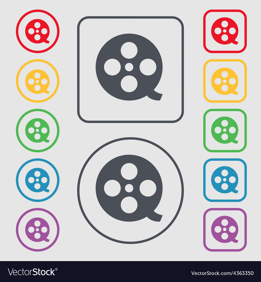 Film icon sign symbol on the round and square vector | Price: 1 Credit (USD $1)