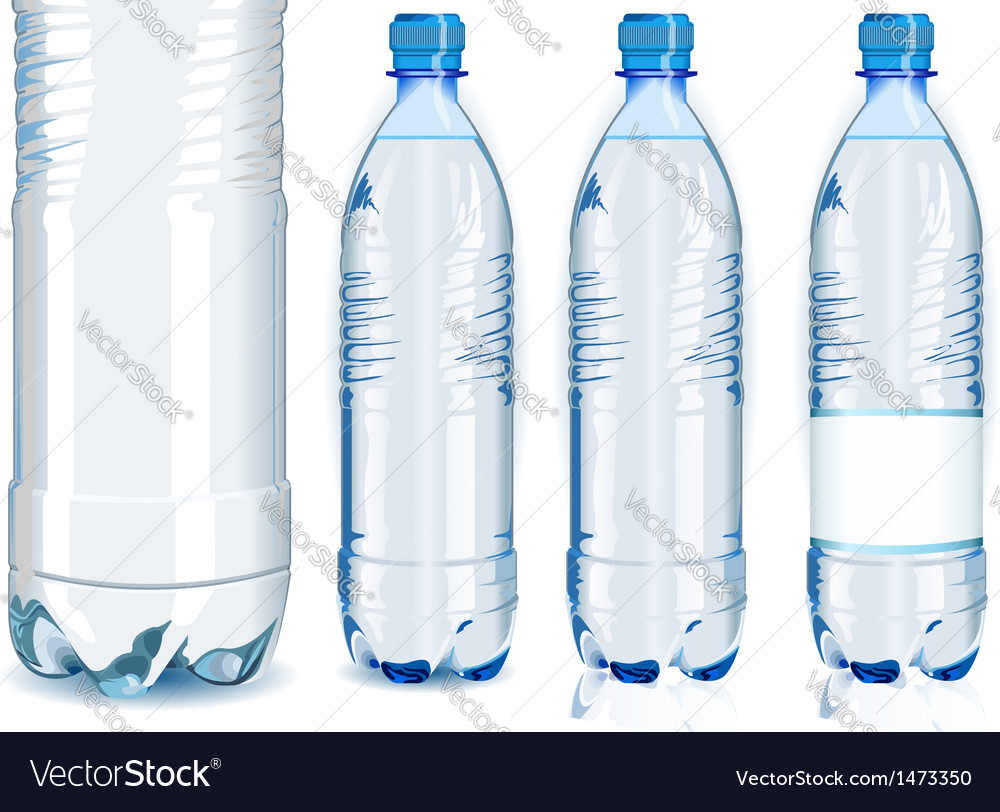 Four water plastic bottles with generic label vector | Price: 1 Credit (USD $1)
