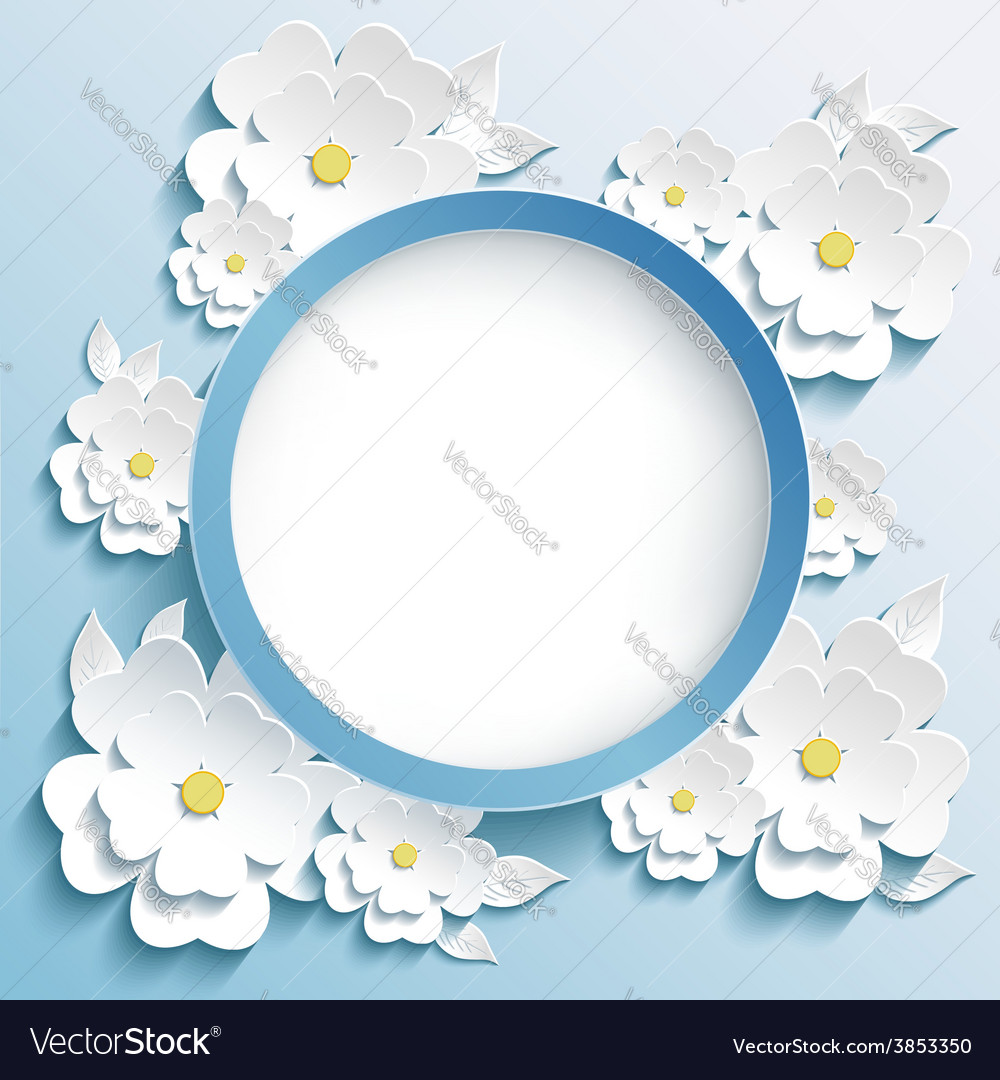 Greeting or invitation card frame with 3d sakura vector | Price: 1 Credit (USD $1)