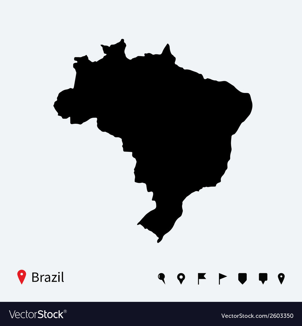 High detailed map of brazil with navigation pins vector | Price: 1 Credit (USD $1)