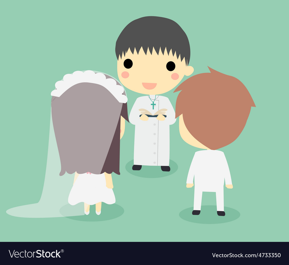 Marriage of couple with priestcute vector   Price: 1 Credit (USD $1)