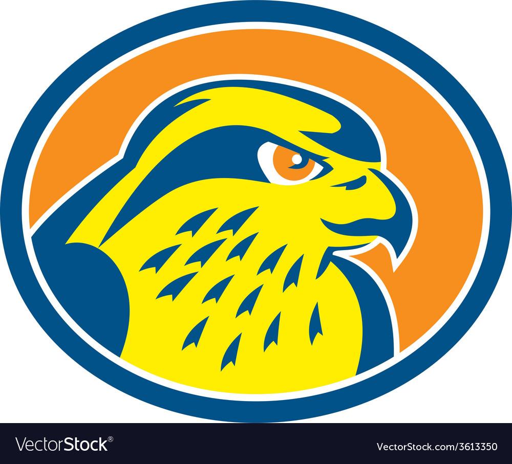 Peregrine falcon head circle retro vector | Price: 1 Credit (USD $1)