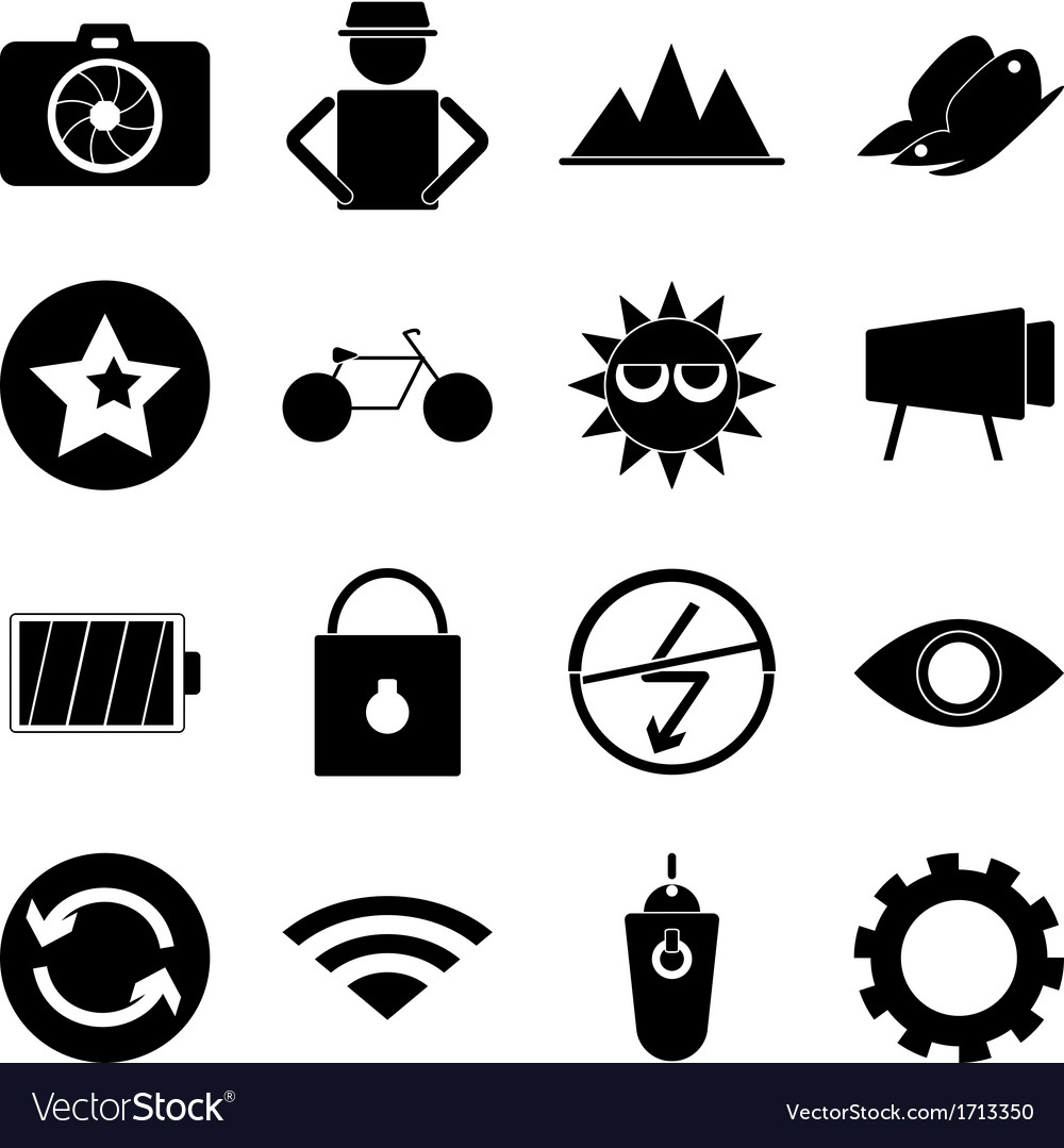 Photography icons on white background vector | Price: 1 Credit (USD $1)