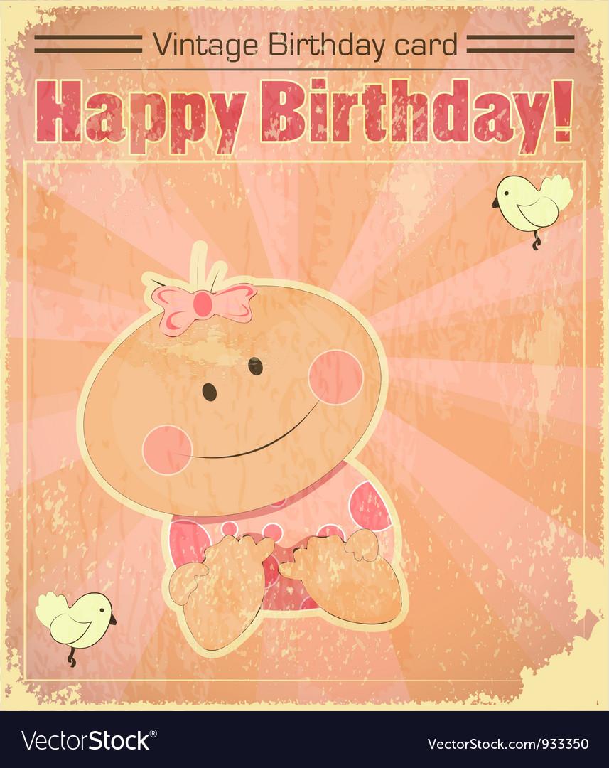 Retro baby girl birthday card vector | Price: 1 Credit (USD $1)