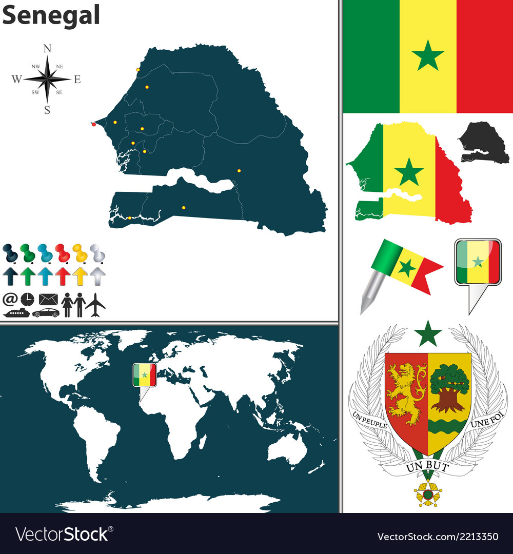 Senegal map vector | Price: 1 Credit (USD $1)