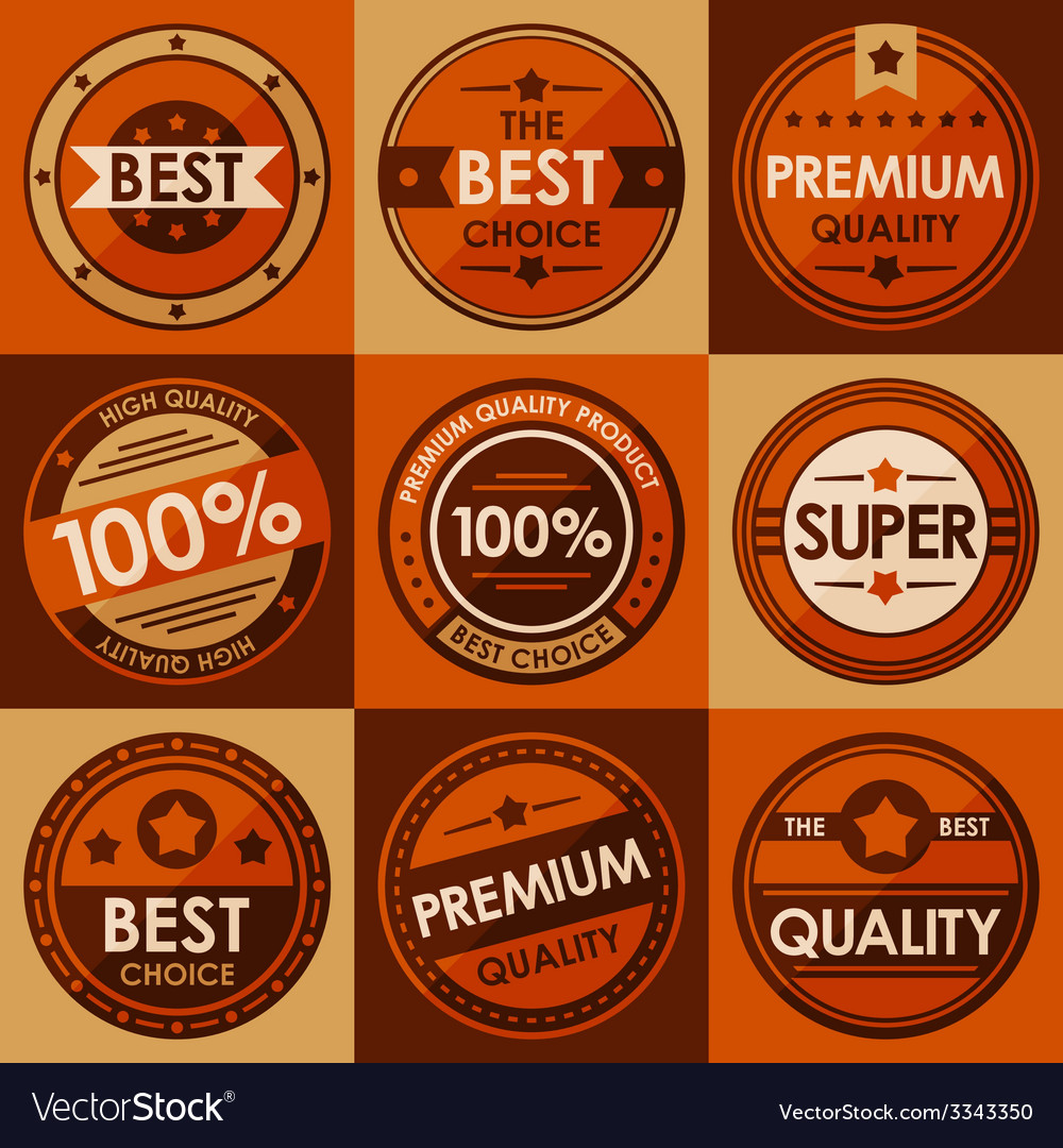 Set of retro vintage badges and labels flat style vector | Price: 3 Credit (USD $3)