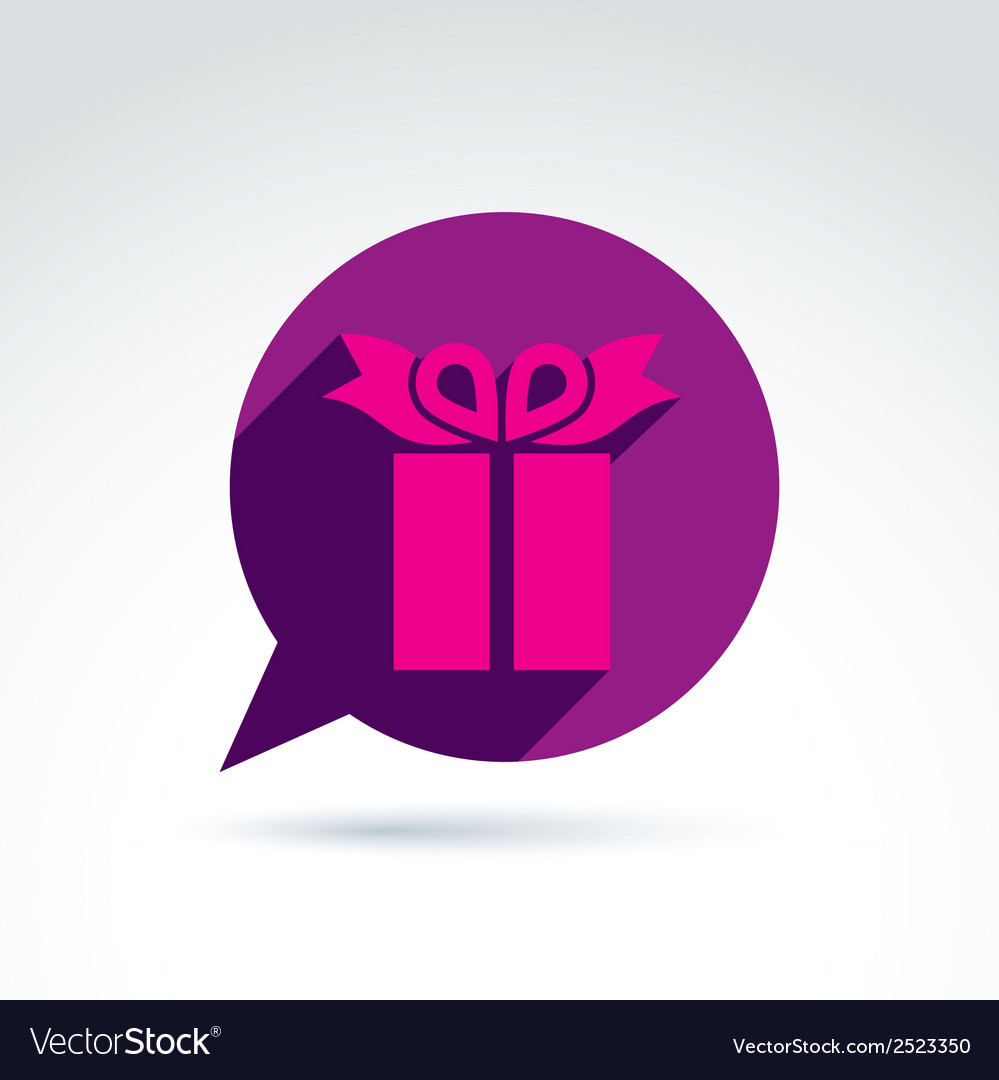 Speech bubble with a purple gift box sign present vector | Price: 1 Credit (USD $1)