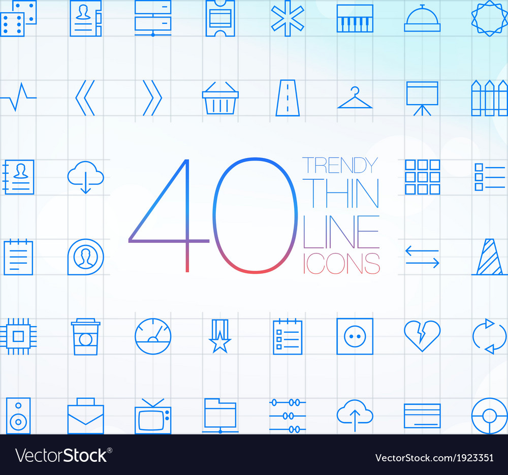 40 trendy thin icons for web and mobile set 6 vector | Price: 1 Credit (USD $1)