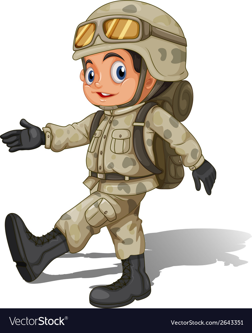 A young smiling soldier vector | Price: 3 Credit (USD $3)