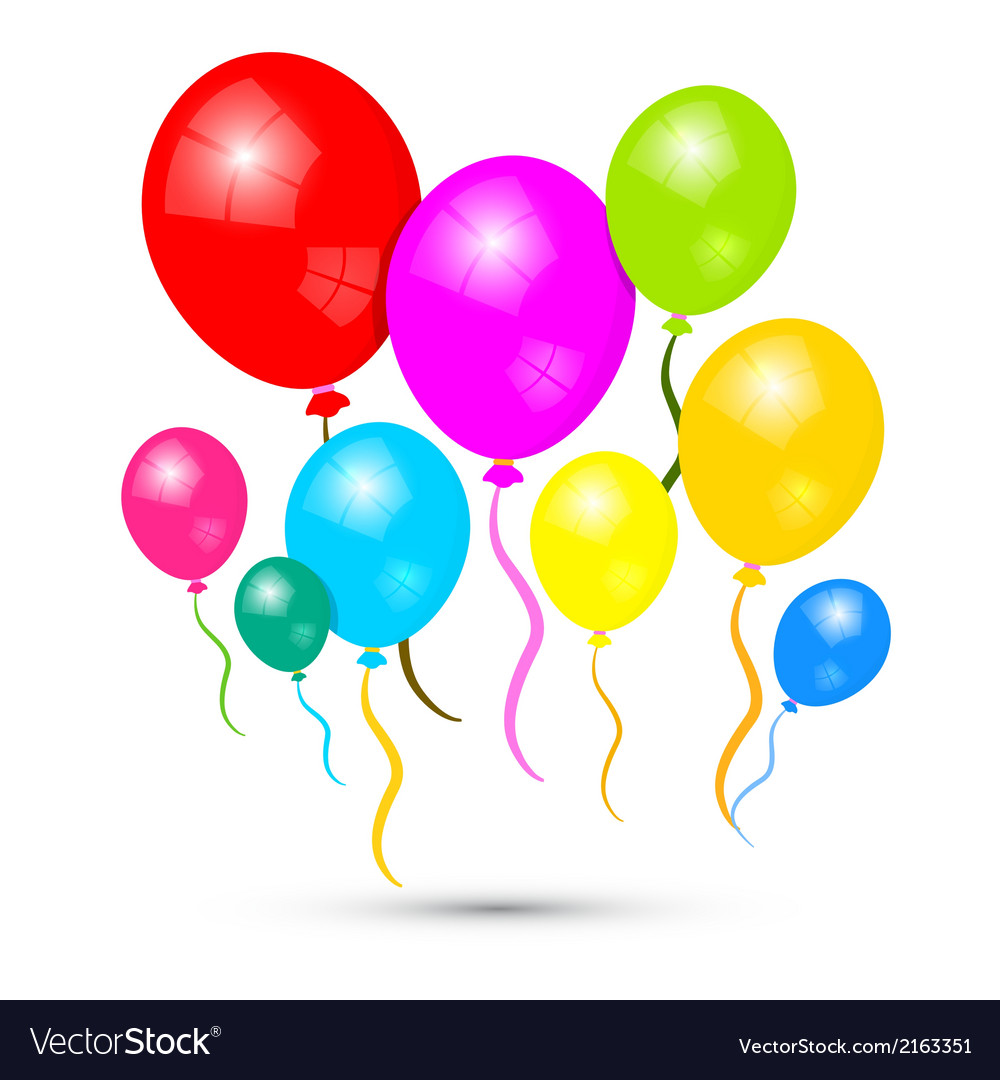 Colorful balloons isolated on white background vector | Price: 1 Credit (USD $1)