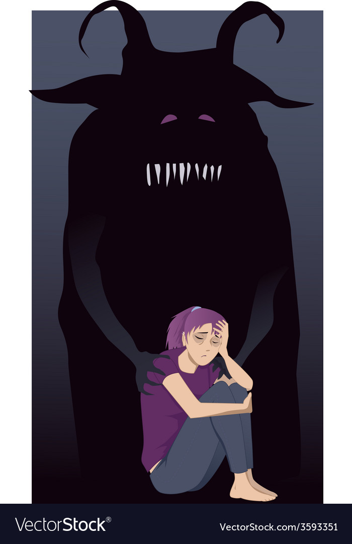 Depressed teenage girl and a monster vector | Price: 1 Credit (USD $1)