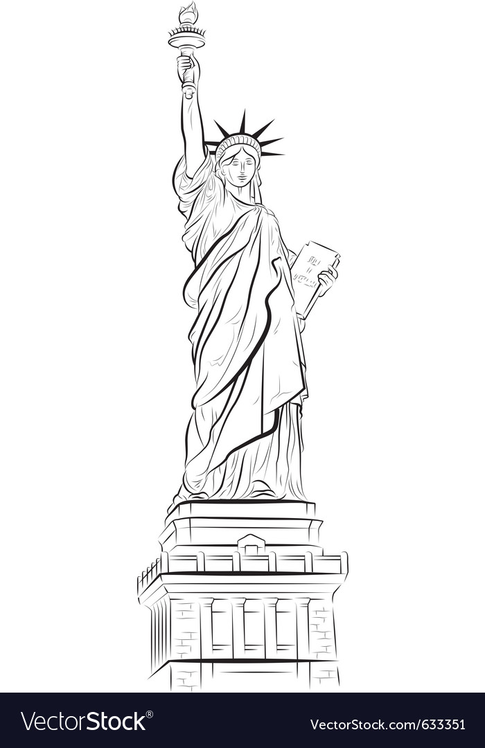 Drawing statue of liberty in new york usa vector | Price: 1 Credit (USD $1)