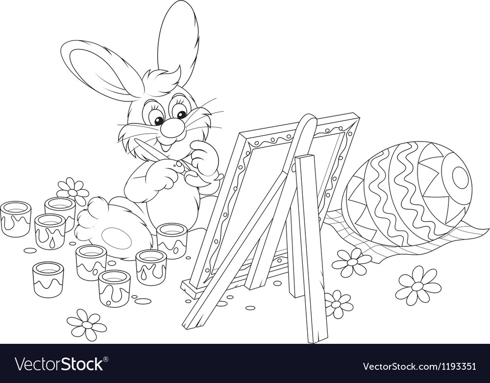 Easter bunny artist vector   Price: 1 Credit (USD $1)