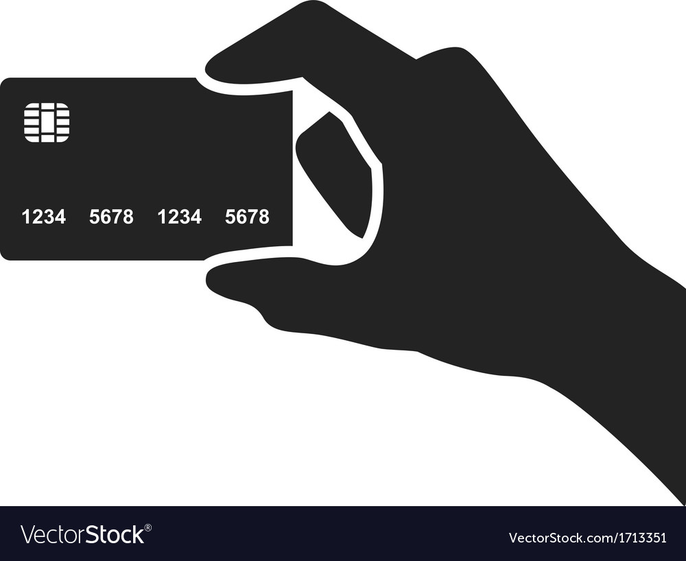 Hand holding credit card black icon vector | Price: 1 Credit (USD $1)