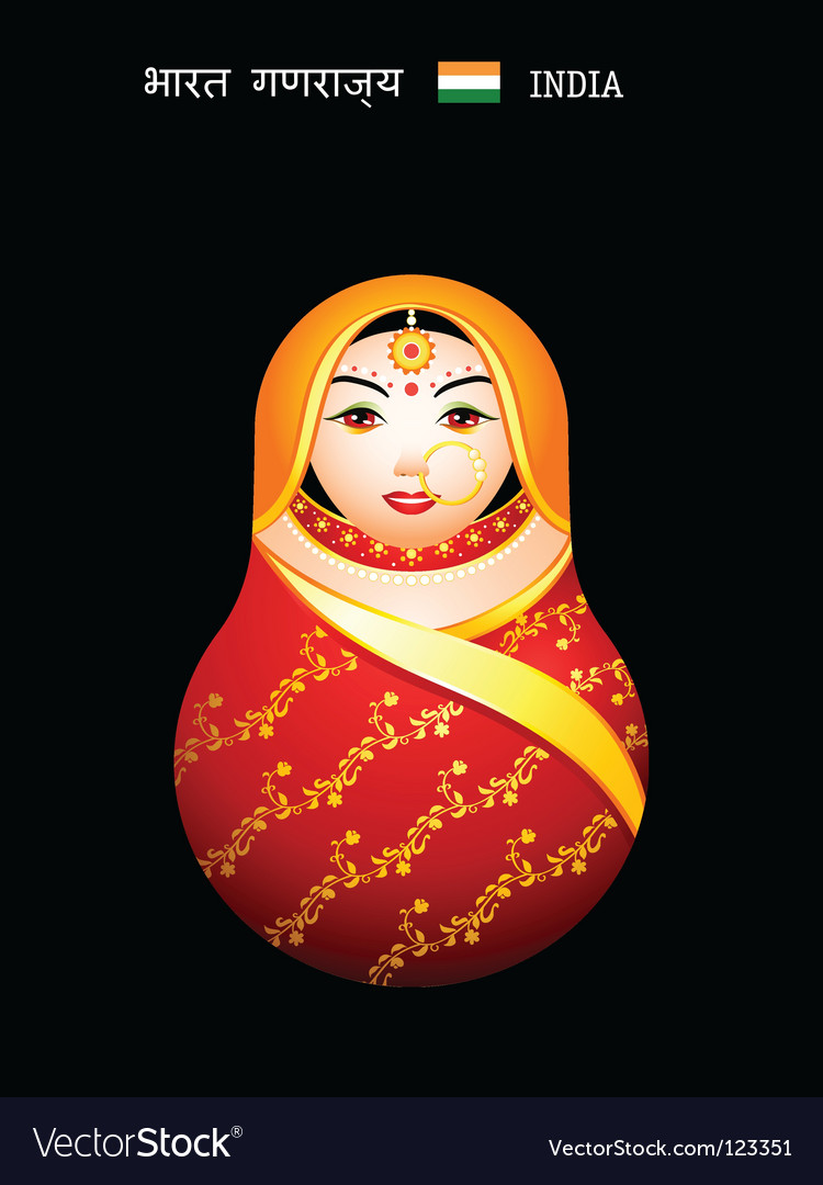 Matryoshka indian girl vector | Price: 1 Credit (USD $1)