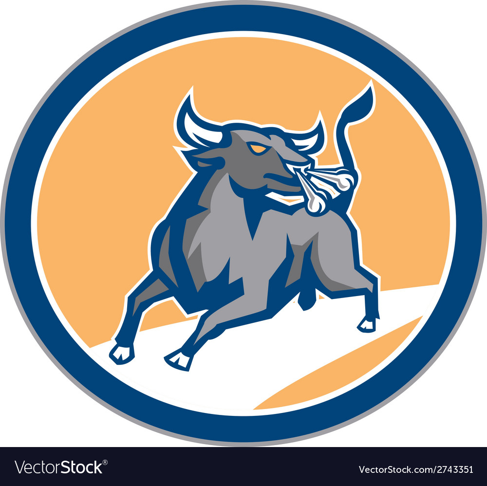 Raging bull attacking charging circle retro vector | Price: 1 Credit (USD $1)