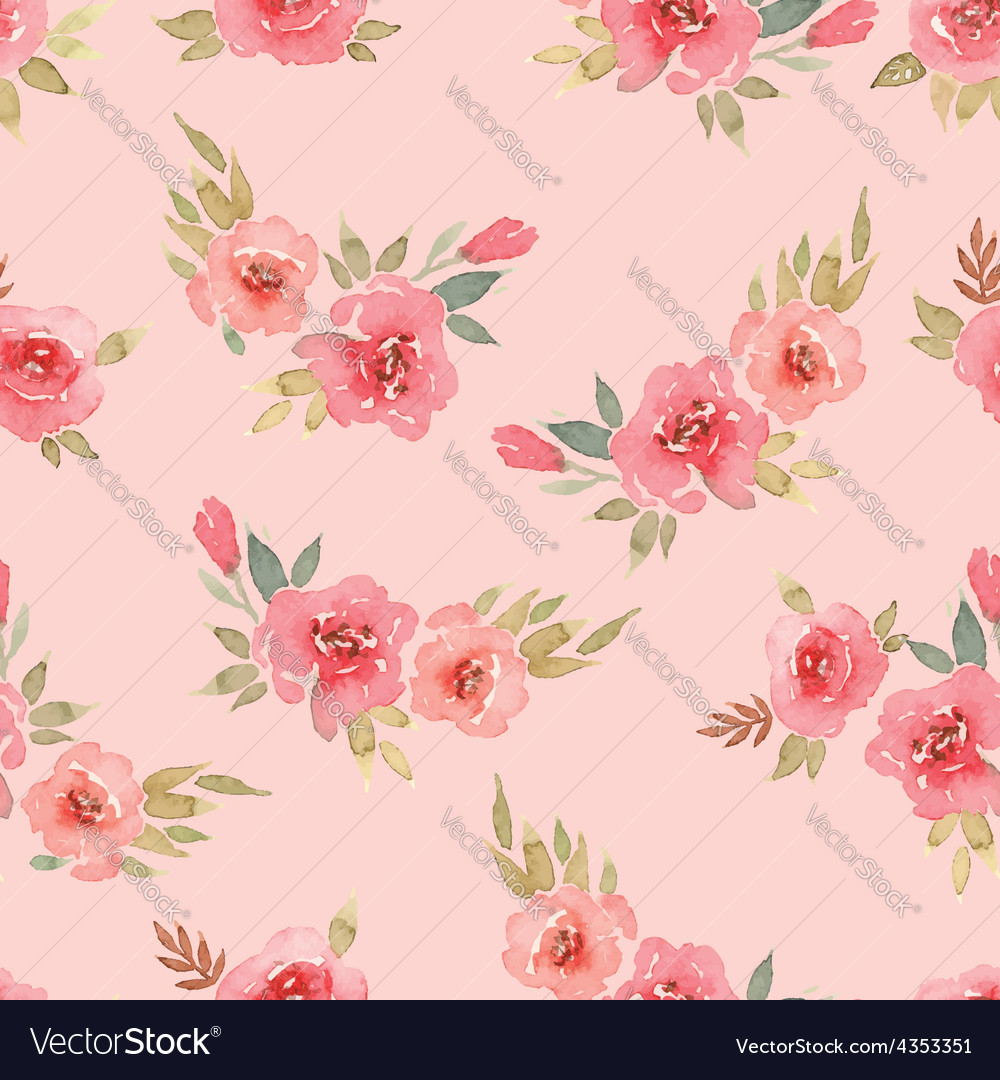 Seamless pattern watercolor flowers vector | Price: 1 Credit (USD $1)
