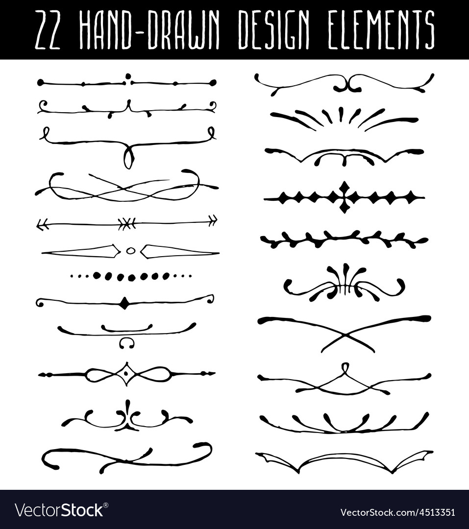 Set of hand-drawn line border dividers and design vector | Price: 1 Credit (USD $1)
